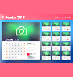 Calendar for 2018 year week starts on sunday set vector