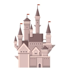Castle Magic Fairy Tale Building with Red Flags vector image