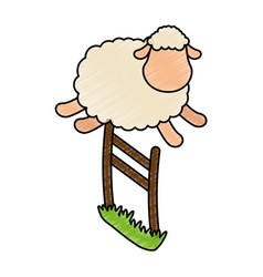 cute sheep jumping the fence vector image