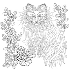 Fluffy Cat in roses zentangle style Freehand vector image vector image