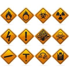 glossy diamond hazard signs vector image vector image