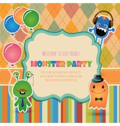 Monster party invitation card design vector image