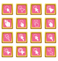 mouse pointer icons pink vector image