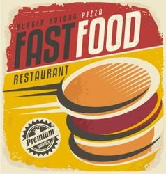 Retro fast food poster design vector image