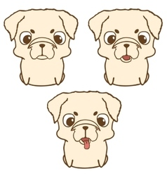 Set of pug puppies Hand drawn vector image vector image