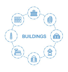 8 buildings icons vector