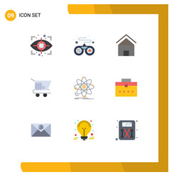 9 flat color concept for websites mobile and apps vector