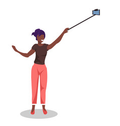 african american woman taking selfie photo with vector image