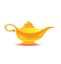 Aladdin yellow lamp isolated object vector