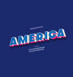 america alphabet 3d color style vector image