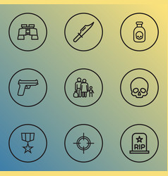 army icons line style set with skull poison vector image