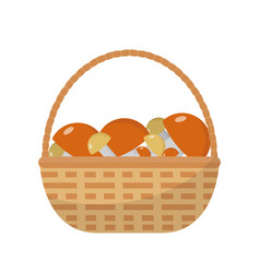 basket with mushrooms icon flat style isolated on vector image