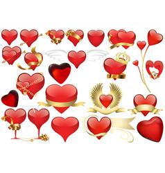 big set red heart vector image