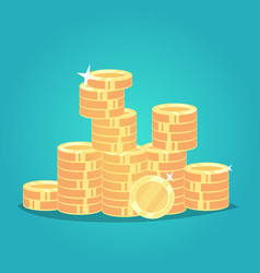 big stacked pile of cash shiny gold coins bag of vector image