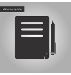 black and white style icon of notebook and pen vector image