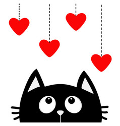 Black cat looking up to hanging red hearts dash vector