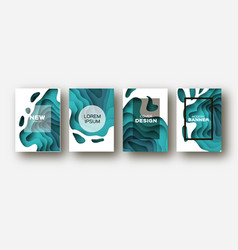 Blue paper cut wave shapes layered curve origami vector
