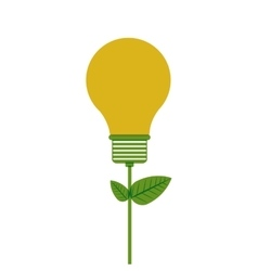 Bulb with plant stem and leaves vector