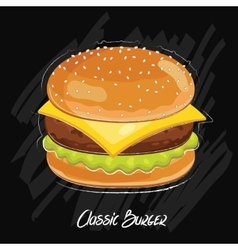 Burger isolated on black background vector image