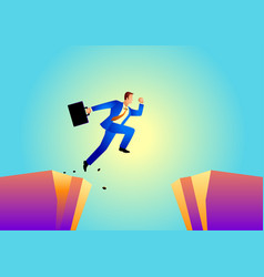 businessman jumps over ravine vector image