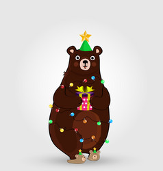 cartoon bear in funny hat and garland holding vector image