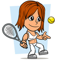 cartoon girl character with tennis racket and ball vector image