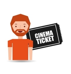 Cartoon man icon ticket cinema graphic vector
