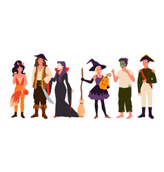 characters in costumes for halloween party vector image