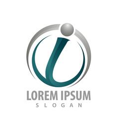 circle initial letter i logo concept design vector image