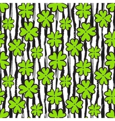 Clover seamless pattern on texture striped vector image
