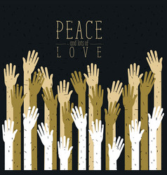 color poster of peace and lots of love with vector image