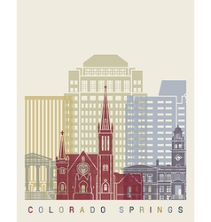 Colorado Springs skyline poster vector