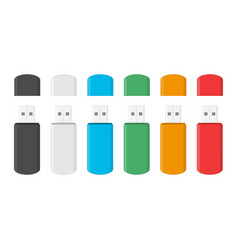 colored usb flash drive set vector image