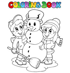 Coloring book winter scene 2 vector