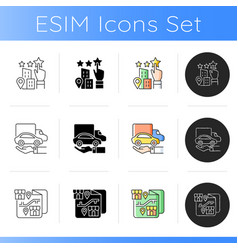 Corporate owning vehicle icons set vector