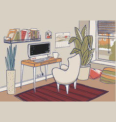 cozy home office cute vector image