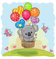Cute cartoon koala with balloons vector