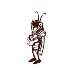 Cute cricket logo design vector