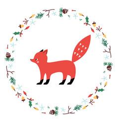 cute fox minimalistic design vector image