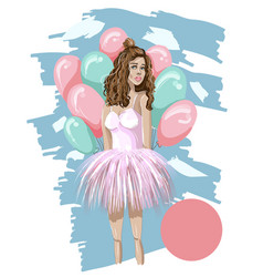 Cute girl with balloon in pink dress vector
