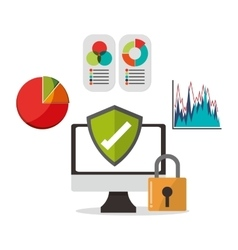 Cyber security with computer design vector