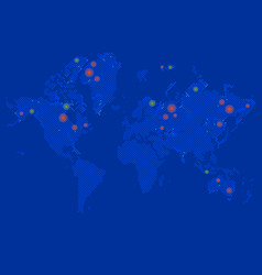 detailed world map blue colors on dark vector image