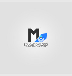 Education logo template with m letter logo vector