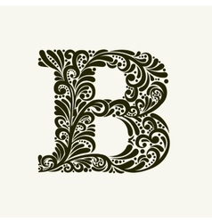 Elegant capital letter B in the style Baroque vector
