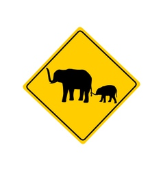 Elephants warning sign vector
