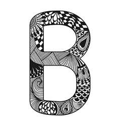 Entangle stylized alphabet lace letter b vector