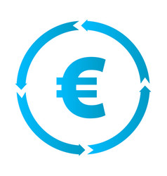 Euro turnover icon vector