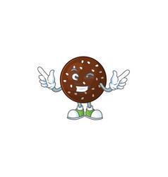 Funny chokladboll cartoon style with wink eye face vector