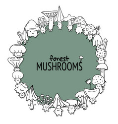 funny mushrooms frame sketch for your design vector image