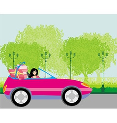 Girl in a pink convertible with gifts vector